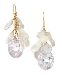 Devon Leigh | White Freeform Pearl Cubic Zirconia Drop Earrings | Lyst