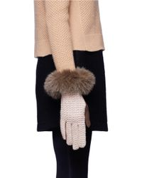 Georges Morand Brown Fur Trimmed Knitted Gloves
