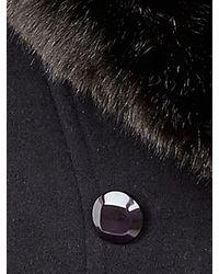 Jacques Vert Black Long Faux Fur Collar Coat