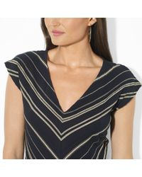 Lauren by Ralph Lauren Black Metallic striped V neck Dress