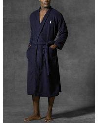 Polo Ralph Lauren Blue Cotton Terry Kimono Robe for men