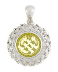 Slane - Yellow Diamond Pave Lemon Citrine Basket-Weave Pendant - Lyst