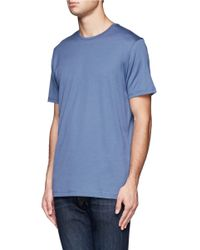 Sunspel - Blue Cotton Striped Polo Shirt for Men - Lyst
