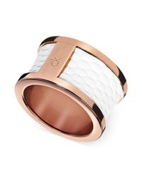 Calvin Klein | Rose Gold Pvd White Leather Barrel Ring | Lyst