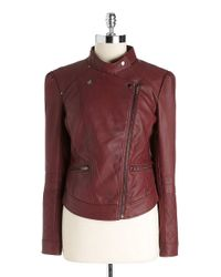 Jessica Simpson | Red Faux leather Moto Jacket | Lyst