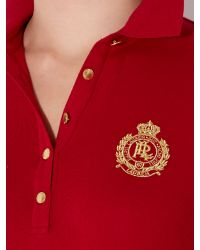 Lauren by Ralph Lauren Red Long Sleeve Polo with Crest Detail