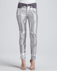 7 For All Mankind | Metallic Malhia Kent The Skinny Jeans Silver | Lyst