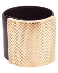 Bottega Veneta - Metallic Brass and Leather Cuff - Lyst