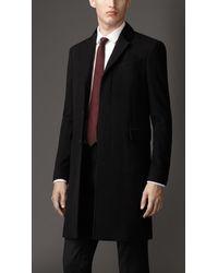 7e714be00b8 Lyst - Burberry Velvet Detail Wool Cashmere Coat in Black for Men