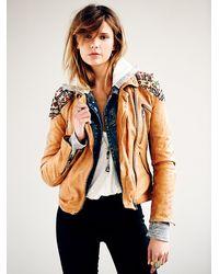 Free People - Brown Embellished Classic Biker Jacket - Lyst