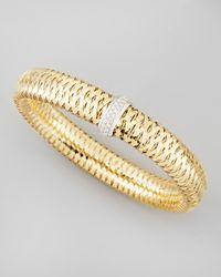 Roberto Coin Metallic Primavera 18k Large Flat Diamond-station Bracelet