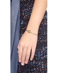 Sarah Chloe - Metallic Ella Engraved Adjustable Bracelet Gold - Lyst