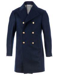 Thom Browne Blue Military Coat for men