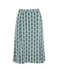 Tory Burch Green Farah Beetle Print Jersey Skirt