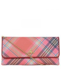 d52b46e64245f Vivienne Westwood Derby Tartan Leather Clutch in Pink - Lyst
