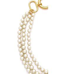 Fallon Metallic Classique Triple Gold Pearl Necklace