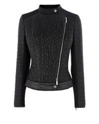 Karen Millen Black Mixed Quilted Biker Jacket