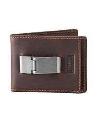 Fossil - Brown Sam Id Bifold Leather for Men - Lyst