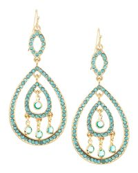 Fragments - Blue Pave Crystal Swing Earrings Aquamarine - Lyst