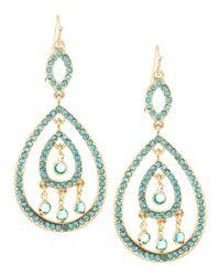 Fragments | Blue Pave Crystal Swing Earrings Aquamarine | Lyst