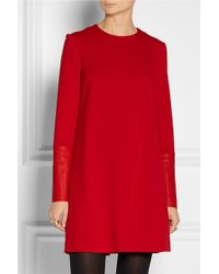 JOSEPH | Red Aggy Leathertrimmed Stretchwool Dress | Lyst