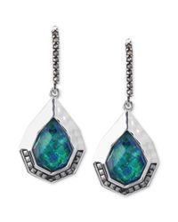 Judith Jack | Sterling Silver Marcasite 710 Ct Tw and Imitation Green Opal 5320 Ct Tw Drop Earrings | Lyst