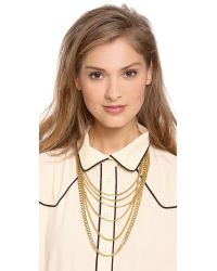 Michael Kors Metallic Multi Chain Plaque Necklace