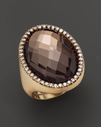 Roberto Coin | Metallic 18k Brown Gold Smoky Quartz And Diamond Oval Cocktail Ring | Lyst
