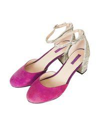 TOPSHOP - Purple Juniper Glitter Mid Heels - Lyst