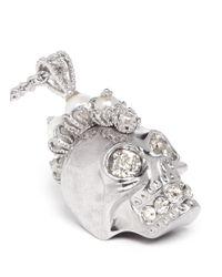 Alexander McQueen Metallic Pearl Mohawk Skull Pendant Necklace