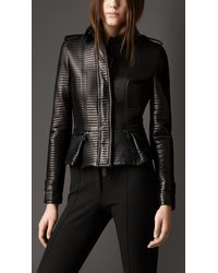 Burberry Rib Quilted Lambskin Jacket In Black Lyst