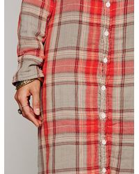 Free People Red Plaid Maxi