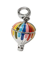 Fossil Metallic Silvertone Rainbow Enamel Hot Air Balloon Charm