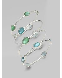 Ippolita | Green Wonderland Mint Mother-of-pearl, Clear Quartz & Sterling Silver Station Five-stone Doublet Bangle Br | Lyst
