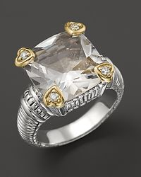Judith Ripka - Metallic White Quartz and Sterling Silver Ring with Diamond and 18k Yellow Gold Heart Prongs - Lyst