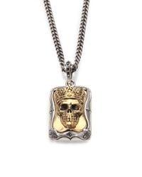 King Baby Studio Metallic Sterling Silver Crowned Skull Pendant Necklace for men