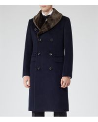 Reiss Blue Darwin Double Breasted Shawl Collar Coat for men