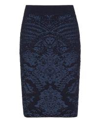 Reiss Blue Babin Knitted Jacquard Skirt