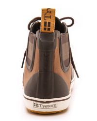 Tretorn Gunnar Canvas Rubber Boots In Chocolate Brown