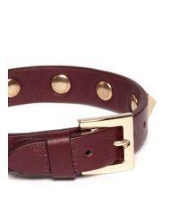 Valentino | Brown Rockstud Leather Skinny Bracelet | Lyst