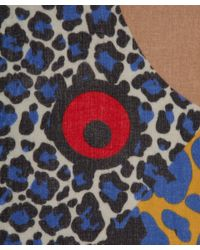 Yarnz - Blue Leopard Face Cashmere Scarf - Lyst