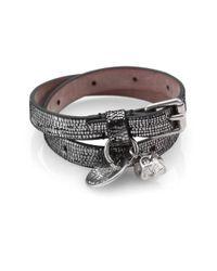Alexander McQueen Black Metallicprinted Doublewrap Leather Bracelet
