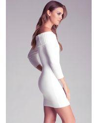 Bebe White Off Shoulder Sweater Dress