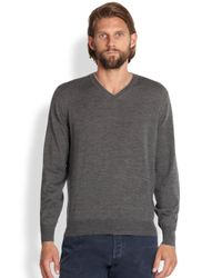 Brunello Cucinelli | Gray Wool/cashmere V-neck Sweater for Men | Lyst