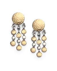 John Hardy | Metallic 18K Yellow Gold & Sterling Silver Dot Chandelier Earrings | Lyst