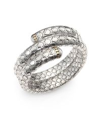 John Hardy Metallic 18K Yellow Gold & Sterling Silver Dragon Double-Wrap Bracelet