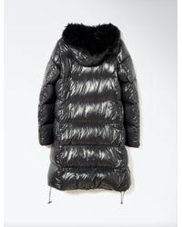 JOSEPH Gray Fur Nylon New Plume Coat