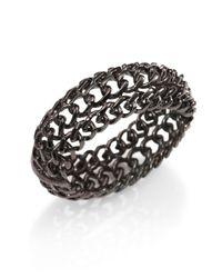 Kenneth Jay Lane | Metallic Triple Chain Bangle Bracelet | Lyst