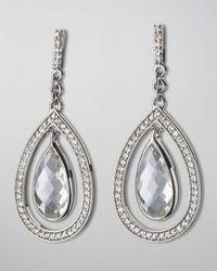 Monica Rich Kosann Blue Sapphire-Trim Rock Crystal Teardrop Earrings