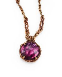 Stephen Dweck Metallic Rock Crystal and Plum Motherofpearl Necklace